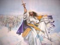 Jesus with uplifted sword riding a white horse